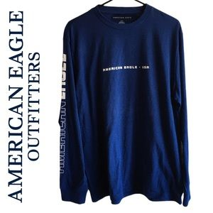American Eagle Outfitters Royal Blue Long Sleeve Sweater Crew Neck Size LG NEW